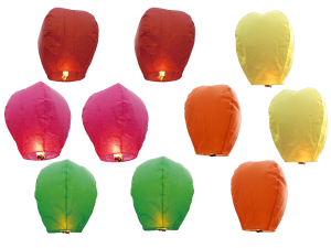 2746 - 10 PACK COLOR PREMIUM SKY LANTERNS COLOR BOXED