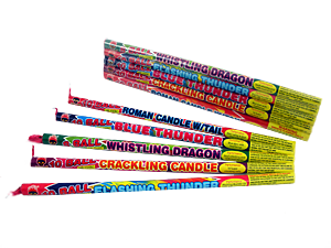 470 - 5 PACK ASSORTED EFFECT ROMAN CANDLE